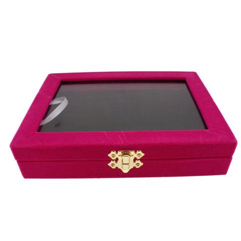 Fuchsia Velvet Glass Top Lid Jewelry Display Box Showcase for Ring Cuff, 48 Slots, 20x15x4.5cm