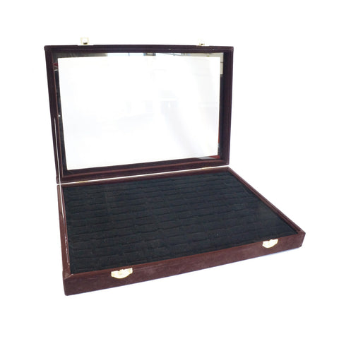 Brown Velvet Glass Top Jewelry Rings Cufflinks Display Showcase Box, 120 Slots