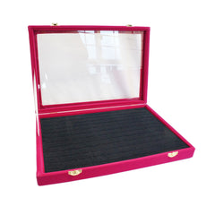 Fuchsia Velvet Glass Top Jewelry Ring Cufflinks Display Showcase Box,  120 Slots