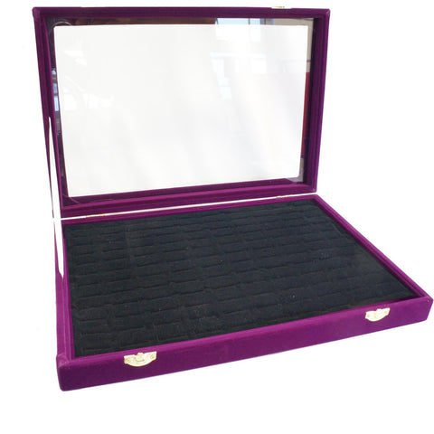 Purple Velvet Glass Top Jewelry Rings Cufflinks Display Showcase Box, 120 Slots
