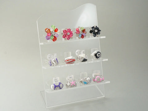 Acrylic Jewelry Ring Display Stand, L Shape, 3 Layer, 12 Slots (Clear)