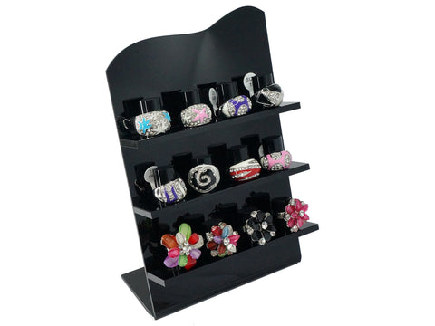 Acrylic Jewelry Ring Display Stand, L Shape, 3 Layer, 12 Slots (Black)