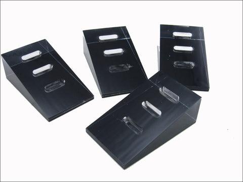 Black Base Clear Acrylic 3 Slots Jewelry Display Stand for Ring Cufflinks, Pack of 4