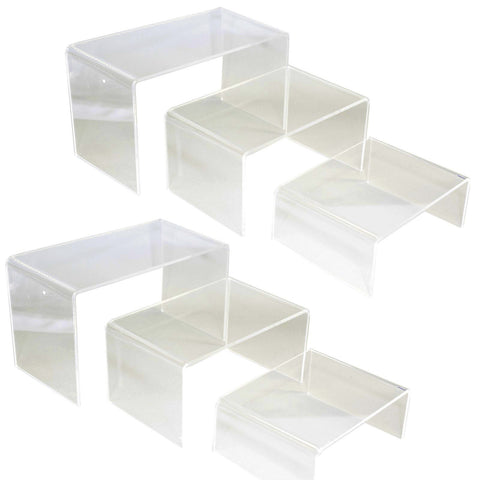 Clear Acrylic 3 Layer Display Stand Riser, Pack of 2 sets