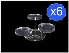 Pack of 6 3 Tier Round Clear Acrylic Display Stand