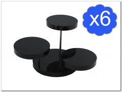 Pack of 6 3 Tier Round Black Acrylic Display Stand