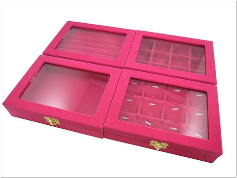 GREAT Value Set of 4 Fuchsia Velvet Glass Top Jewelry Display Box