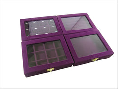 GREAT Value Set of 4 Purple Velvet Glass Top Jewelry Display Box