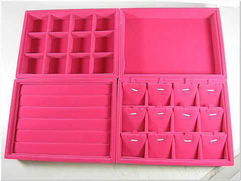 Great Value Set of 4 Fuchsia Velvet Jewelry Display Case / Tray