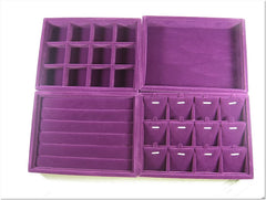 Great Value Set of 4 Purple Velvet Jewelry Display Case / Tray