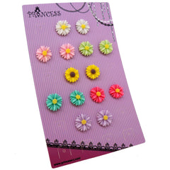 Princess-J Color Daisy Flower Clip-On Earrings, Pack of 7 Pairs