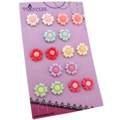 Princess-J Color Sunflower Flower Clip-On Earrings, Pack of 8 Pairs