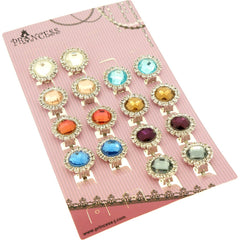 Vintage Cute Flower Faceted Glass Rhinestone Beads with Little Crystal Stud Wrapped Round Clip-on Earrings, Pack of 8 Pairs