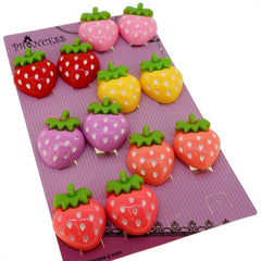 Princess-J Big Size Color Strawberry Clip-On Earrings, Pack of 6 Pairs