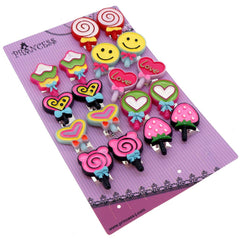 Color Lollipop Clip-On Earrings, Pack of 9 pairs