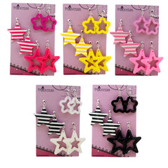 Candy Colorful Stylish Star Pattern Clip-on dangle Earrings 5 Colors Gift Set