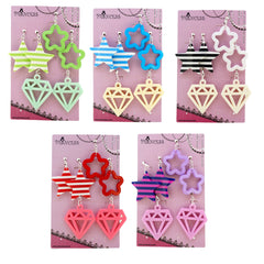Candy Colorful Stylish Star / Daimond Clip-on dangle Earrings 5 Color Set