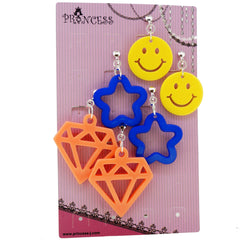Colorful Stylish Smile Face / Star / Diamond Dangle Clip-on Earrings, Pack of 3 Pairs