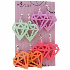 Candy Colorful Stylish Daimond Dangle Clip-on Earrings 4 Color Set