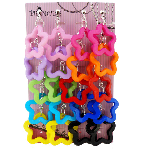 Candy Colorful Stylish Star Outline Dangle Clip-on Earrings 10 Color Se