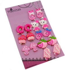 Pink Color Rabbit / Bear / Dounut / Strawberry / Musroom / Popsicles Clip-on Earrings for Teen Girls and Womens