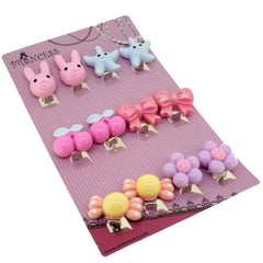 Cartoon Candy Color Clip-On Earrings For Kids Children Teen Girls Birthday Party Gift, Pack of 6 Pairs