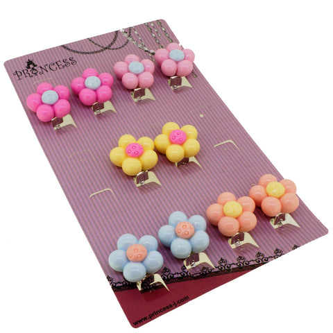 Candy Color Flower Clip-On Earrings for Kids Children Teen Girls Birthday Party Gift, Pack of 5 Pairs