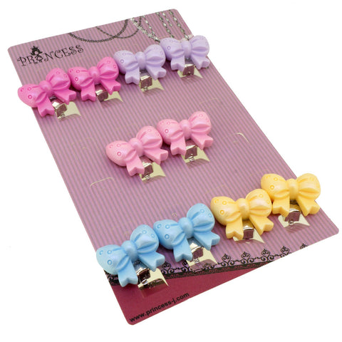 Candy Color Bow tie Butterfly Clip-on Earrings for Kids Children Teen Girls Birthday Party Gift, Pack of 5 Pairs