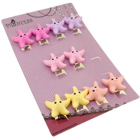 Candy Color Cartoon Sea Star Clip-On Earrings for Kids Children Teen Girls Birthday Party Gift, Pack of 5 Pairs