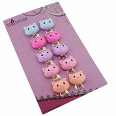 Candy Color Cartoon Cat Clip-On Earrings for Kids Children Teen Girls Birthday Party Gift, Pack of 5 Pairs