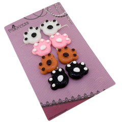 Color Cute Dog Cat Paw Clip-On Earrings for Kids Children Teen Girls Birthday Party Gift, Pack of 4 Pairs