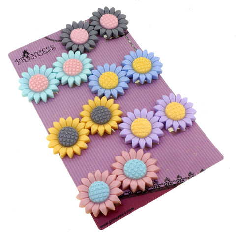 Big Color Sunflower Daisy Flower Clip-On Earrings for Kids Children Teen Girls Birthday Party Gift, Pack of 6 Pairs