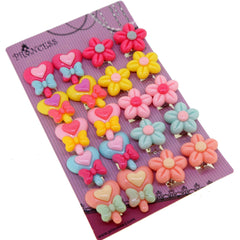 Cute Pastel Color Lollipop and Flower Clip On Earrings Gift Set for Kids Teenage Teen Girls, Pack of 10 Pairs