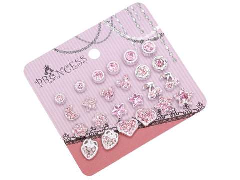 Pink Crystal Magnetic Stud Earrings for Girls Kids Women, Pack of 12