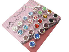 6mm Color Crystal Magnetic Stud Earrings for Kids Girl Women