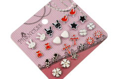 Color Enamel Fashion Studs Earrings for Teen Girls Kids Womens Pack of 12 Pairs