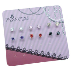 Pack of 6 Pairs 4mm Cubic Zirconia Crystal Magnetic Stud Earrings for Teen Girls