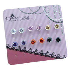 Pack of 6 Pairs 6mm Cubic Zirconia Crystal Magnetic Stud Earrings for Teen Girls