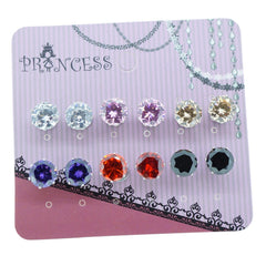 Pack of 6 Pairs 8mm Cubic Zirconia Crystal Magnetic Stud Earrings for Teen Girls