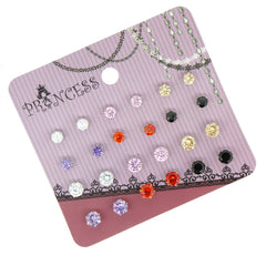 Wholesale Lot of 12 Cubic Zirconia Crystal Magnetic Stud Earrings Mix Size Color