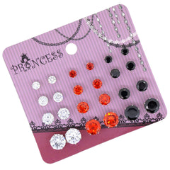 Wholesale Lot of 12 Cubic Zirconia Crystal Magnetic Stud Earrings Mix Size Red Color