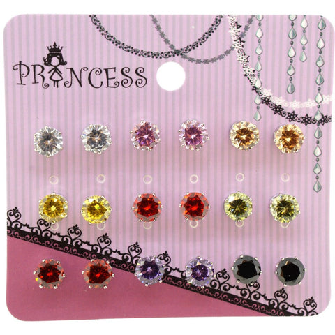 6mm Multi Color Cubic Zirconia Crystal Magnetic Stud Earrings for Teen Girls Women, Pack of 9 Pairs