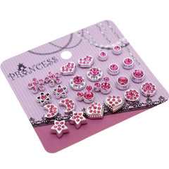 Hot Pink Crystal Magnetic Clip On Stud Earrings Fashion Jewelry for Kids Teen Girls Womens