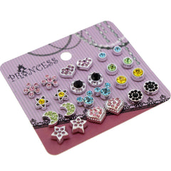 Color Crystal Magnetic Clip On Stud Earrings Fashion Jewelry for Kids Teen Girls Womens