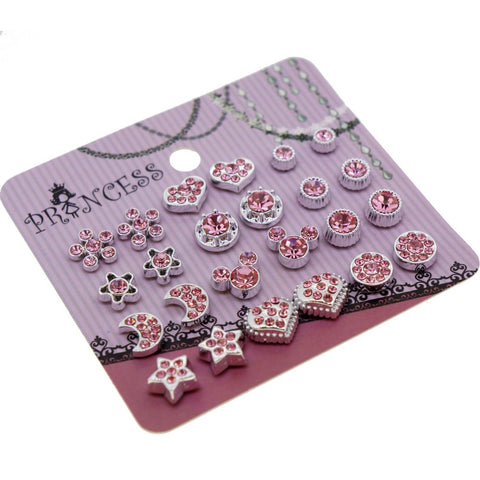 Pink Crystal Magnetic Clip On Stud Earrings Fashion Jewelry for Kids Teen Girls Womens