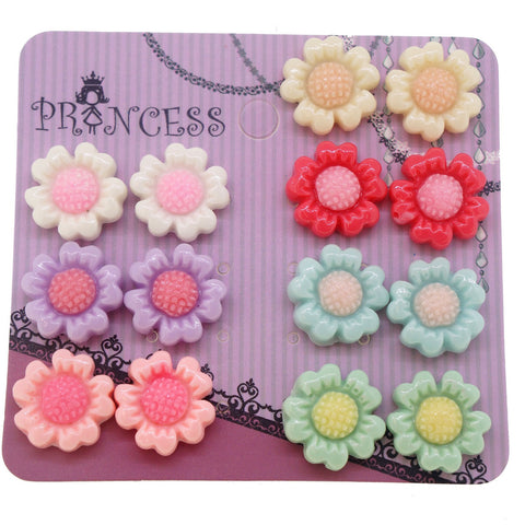 Mixed 7 Color Sunflower Flower Magnetic Stud Earrings for Teen Girls Kids Womens