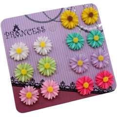 Mixed 7 Color Daisy Flower Magnetic Stud Earrings for Teen Girls Kids Womens