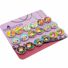 Cartoon Owl Printed Glass Dome Cabochons Magnetic Stud Earrings for Teen Girls Kids Womens, Random Mixed