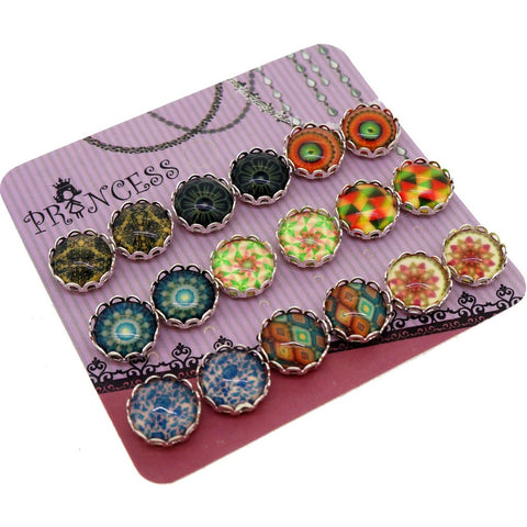 Mosaic Printed Glass Dome Cabochons Magnetic Stud Earrings (Random Mixed)