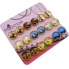 European Style Printed Glass Dome Cabochons Magnetic Stud Earrings for Teen Girls Kids Womens, Random Mixed